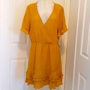 Dotti sleeved Dress in Mustard Size 16 Viscose Nylon Polyester Cotton